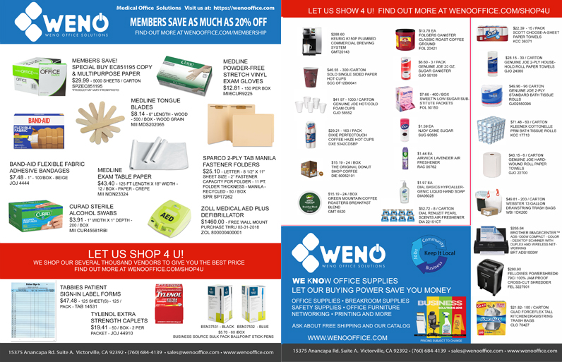 Medical Supplies Flyer  Weno Office